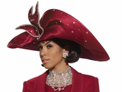 Womens Wine Satin and Rhinestone Hat by Donna Vinci H1439