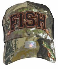 Born To Fish Forced To Work Black Hat with Camo Brim