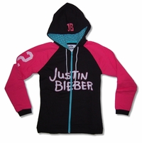 "Bravado Juniors Justin Bieber ""Icon"" Black & Pink Zip Hoodie Official Sweatshirt"