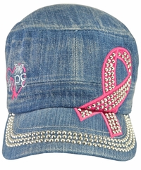 Breast Cancer Hope Awareness Denim Hat - With Rhinestones
