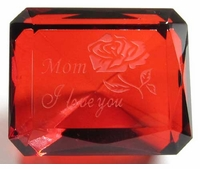 Custom Engraved Emerald Cut Ruby Paperweight  2 1/8 X 1 3/4 Inches