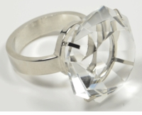 Diamond Glass Napkin Holder & Paperweight with Classic Silver Metal Ring