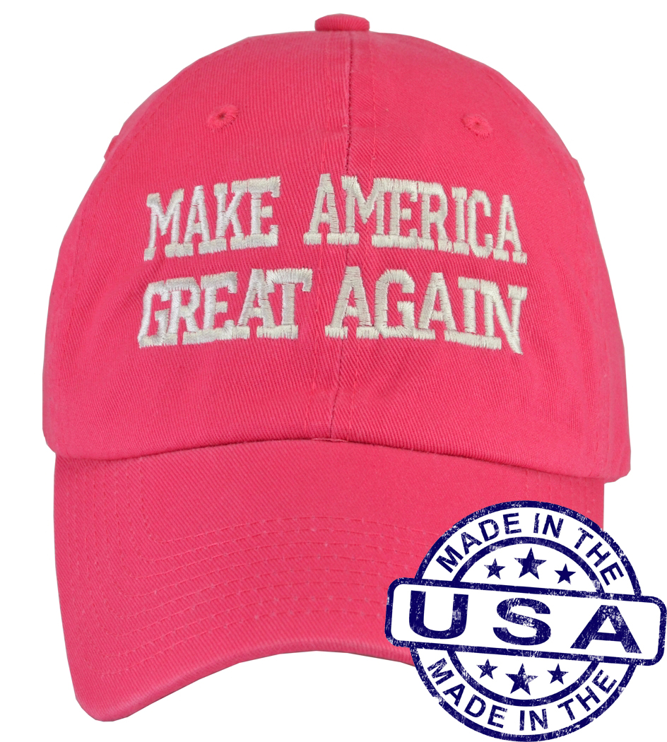 Donald Trump Make America Great Again Hat - 100% Made in the USA - Pink Strap Back