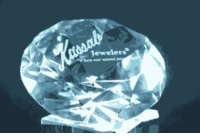 "Engraved Diamond Paperweight with Stand, 6"" Diameter 150mm"