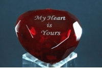 Engraved Heart Paperweight, 2.25 Inches in Diameter 60mm