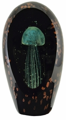 Black 6 Inch Glow in the Dark  Glass Jellyfish Paperweight