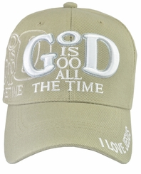 God Is Good All The Time Biege Baseball Hat