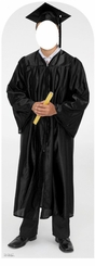 Male Graduate Black Cap and Gown Stand-In Cardboard Cutout Life Size Standup