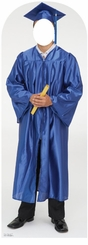 Male Graduate Blue Cap and Gown Stand-In Cardboard Cutout Life Size Standup