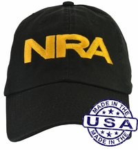 NRA Hat - 100% Made in the USA - Black Strap Back