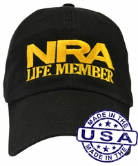 NRA Life Member Hat - 100% Made in the USA - Black Strap Back