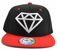 Diamond Black Hat Red Brim White Embroidered Snapback