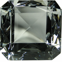 Emerald Cut Ruby Glass Diamond Paperweight 4 x 4 x 2 1/2 Inches