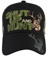 Shut Up and Hunt Camo Hat with Black Brim