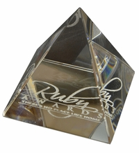 Small Clear Engraved Glass Pyramid Paperweight