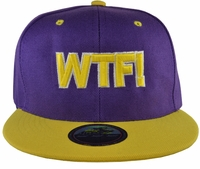 WTF! Purple Snapback Hat with Yellow Brim