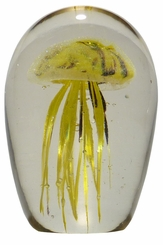 Yellow & Purple Glass Jellyfish 4.5 Inch Glow in the Dark Paperweight