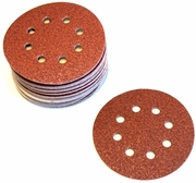 "5"" 8-Hole Red Paper Hook & Loop Sanding Discs, P100E Grit, Box of 50."