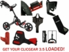 LOADED! Clicgear 3.5+ Golf Push Cart Value Package Free Shipping!