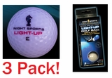Twilight Tracer Night Sports Supernova Glow Light Up Night Golf Ball 3 Pack