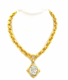 18K Gold and Silver Plated Palm Tree Pendant Necklace