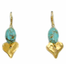 18K Gold and Turquoise Dangle Heart Pierced Earrings
