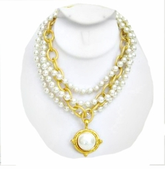 18K Gold Plated 3 Strand Pearl and Gold Link Necklace