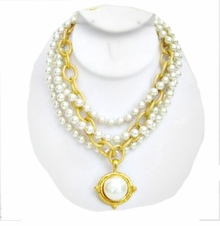 18K Gold Plated 3 Strand Pearl and Gold Link Necklace - SOLD OUT