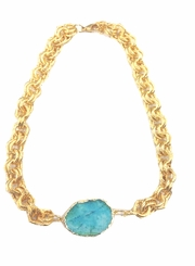 18K  Gold Plated Aqua Drusy Pendant Necklace - SOLD OUT