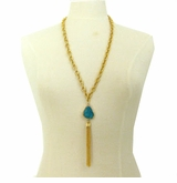 18K Gold Plated Aqua Druzy Pendant Necklace