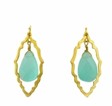18K Gold Plated Aqua Stone Double Dangle Earrings