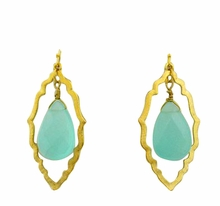 18K Gold Plated Aqua Stone Double Dangle Earrings - sold out