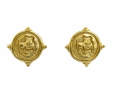 18K Gold Plated Bulldog Pierced Earrings