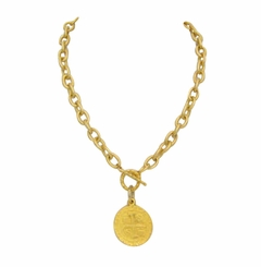 18K Gold Plated Coin Toggle Necklace