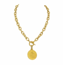 18K Gold Plated Coin Toggle Necklace out of stock