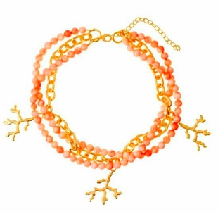 18K Gold Plated Coral Triple Strand Necklace