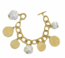 18K Gold Plated Cotton Pearl Charm Bracelet - out of stock