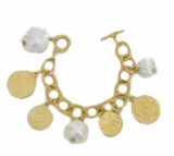 18K Gold Plated Cotton Pearl Charm Bracelet