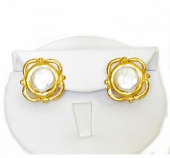 18K Gold Plated Cotton Pearl Post Earrings - sold out