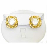 18K Gold Plated Cotton Pearl Post Earrings