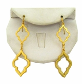 18K Gold Plated Curved Diamond Shape Dangle Earrings