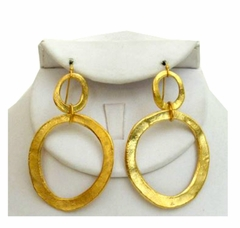 18K Gold Plated Double Circle Pierced Dangle Earrings - Out of Stock