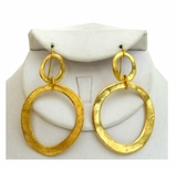 18K Gold Plated Double Circle Pierced Dangle Earrings