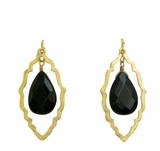 18K Gold Plated Double Dangle Earrings Black - Last One