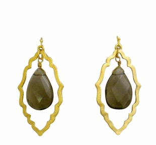 18K Gold Plated Double Dangle Earrings Brown