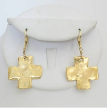 18k Gold Plated Gold Cross Dangle earrings - sold out
