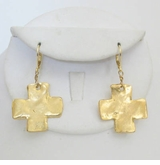 18k Gold Plated Gold Cross Dangle earrings
