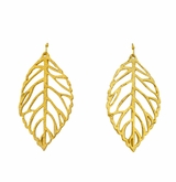 18K Gold Plated Handcast Leaf Earrings