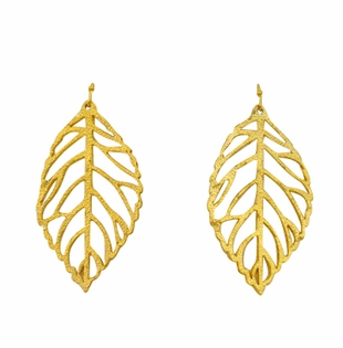 18K Gold Plated Handcast Leaf Earrings - SOLD OUT