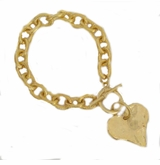 18k Gold Plated Heart Toggle bracelet